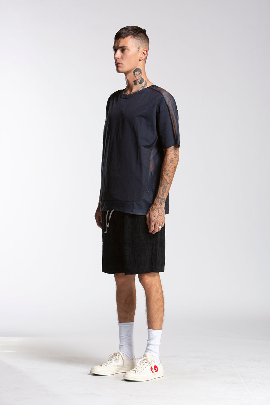 candorofficial - Woven Tech Shirt, Navy - Shirts