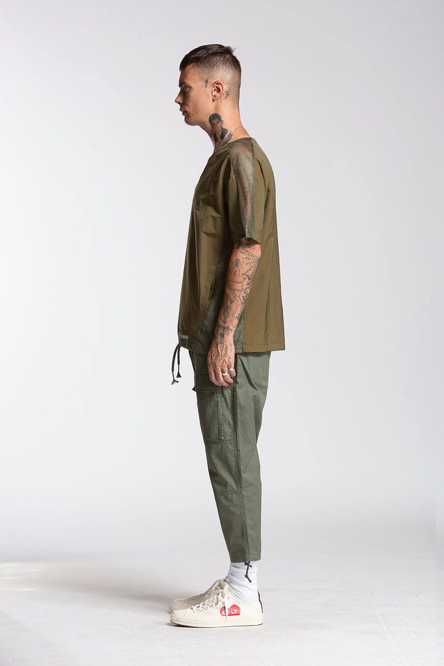 candorofficial - Woven Tech Shirt, Olive - Shirts