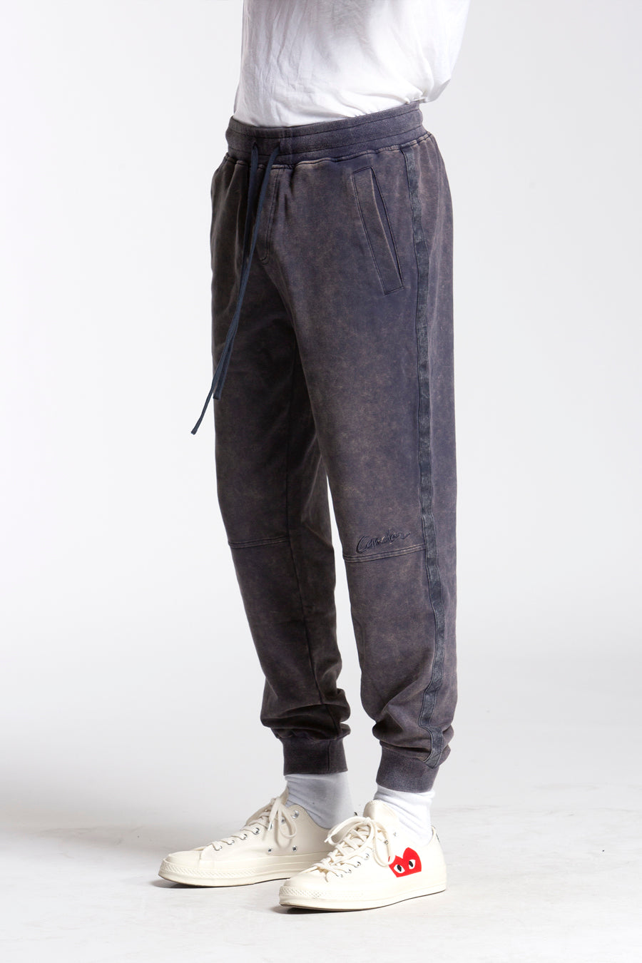 candorofficial - Washed Sweatpants, Blue - Bottoms