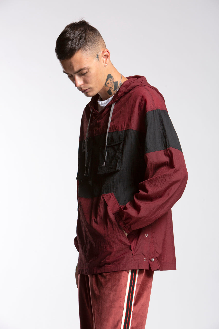 candorofficial - Pullover Anorak, Maroon - Outerwear