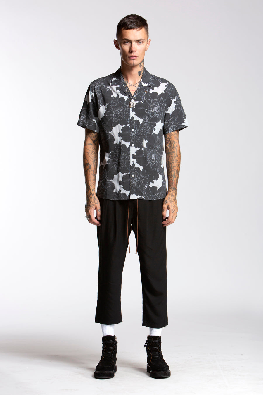 candorofficial - Blossom Aloha Shirt, Black Grey - Shirts