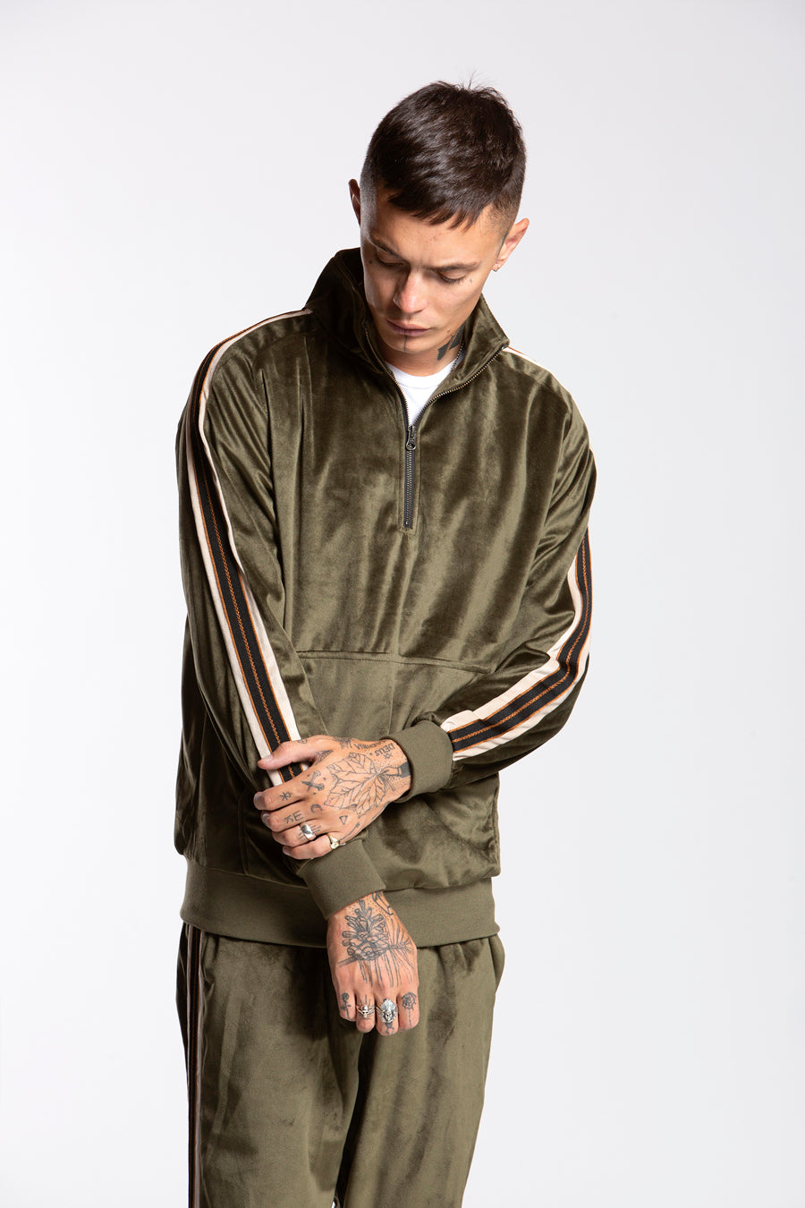 candorofficial - Track Zip Pullover, Olive - Sweatshirts