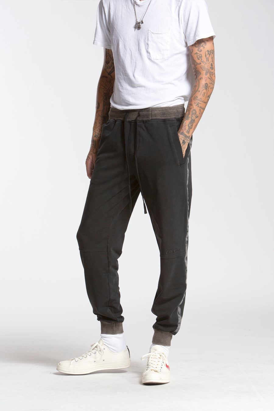 candorofficial - Washed Sweatpants, Black - Bottoms