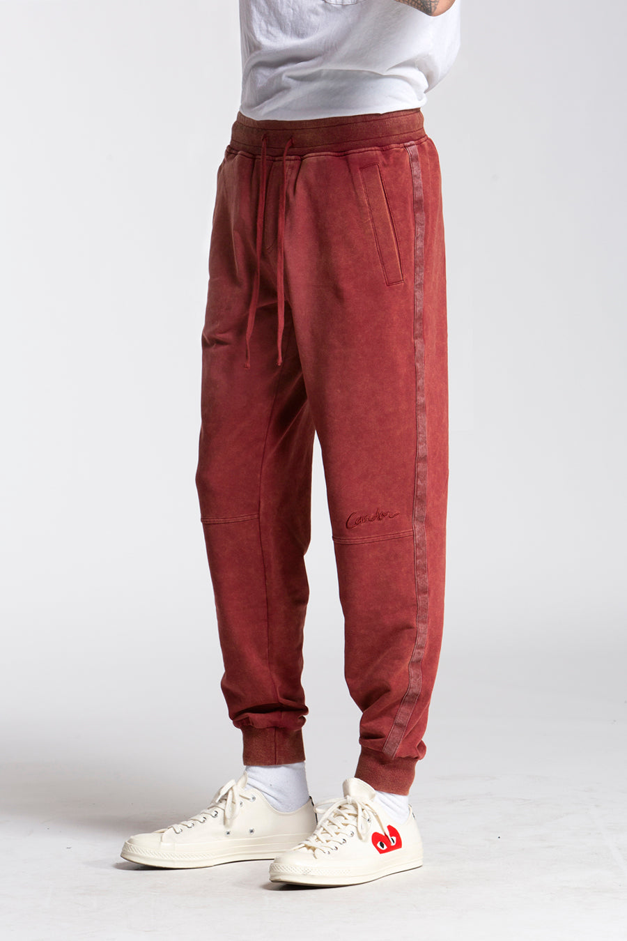 candorofficial - Washed Sweatpants, Maroon - Bottoms