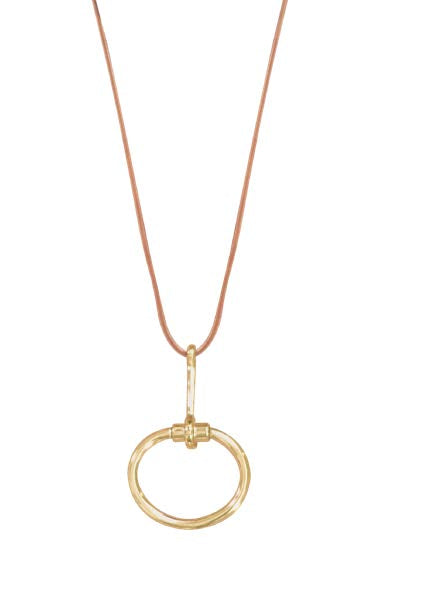 N0079 ORO CXC Gold Leather Necklace