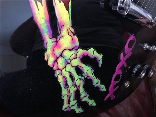 Neon Skeleton Hands Static Cling Guitar Decal