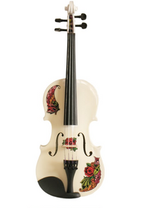 Butterfly Rose Tattoo White Glitter Violin