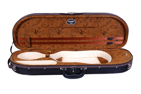 Tonareli Half Moon Ultra Light Violin Case, Brown 'Birds'