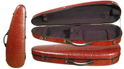 Core Fiberglass Red Flower Crescent Shaped Violin Case