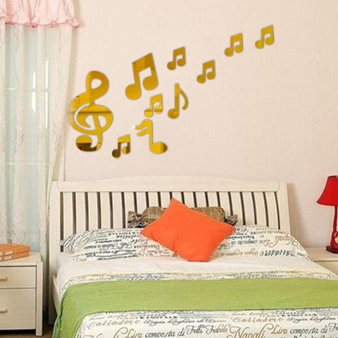 Music Notation 3D Mirror Sticker For Home Decoration