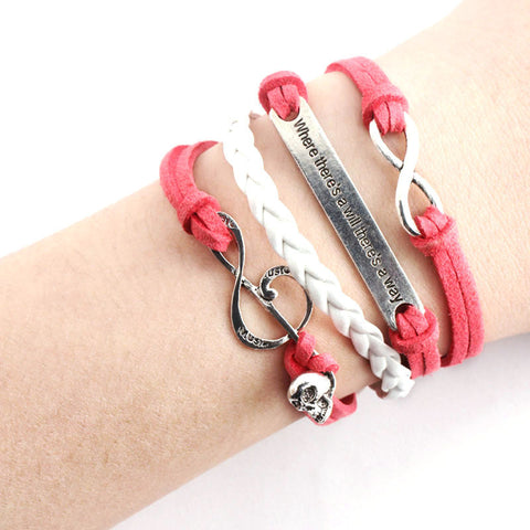 Handmade Skull & Music Rope Multilayer Red Weave  Bracelet