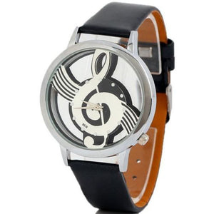 Music Notation Leather Quartz Wristwatch