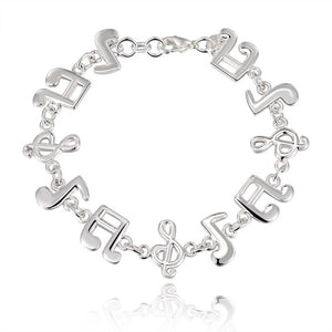 Silver Music Note Solid Bangle Bracelet