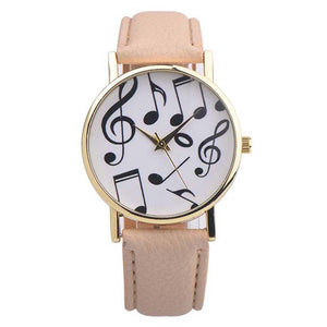 Musical Notes Leather Analog Quartz Wrist Watch