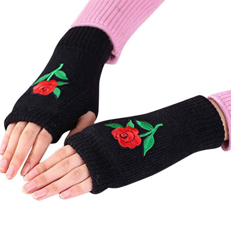 Rose Embroidered Winter Wrist & Hand Warmer Gloves