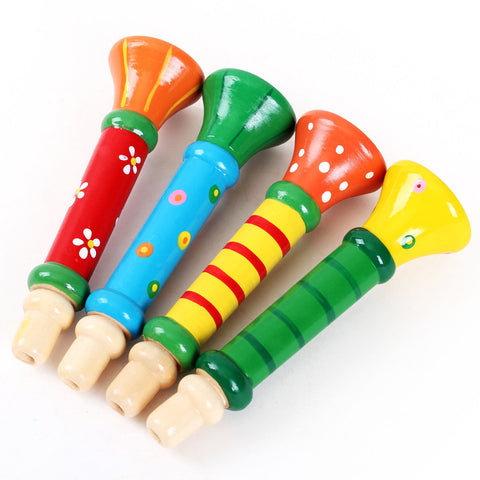 Multi-Color Baby kids Wooden Horn Music Toy For Children