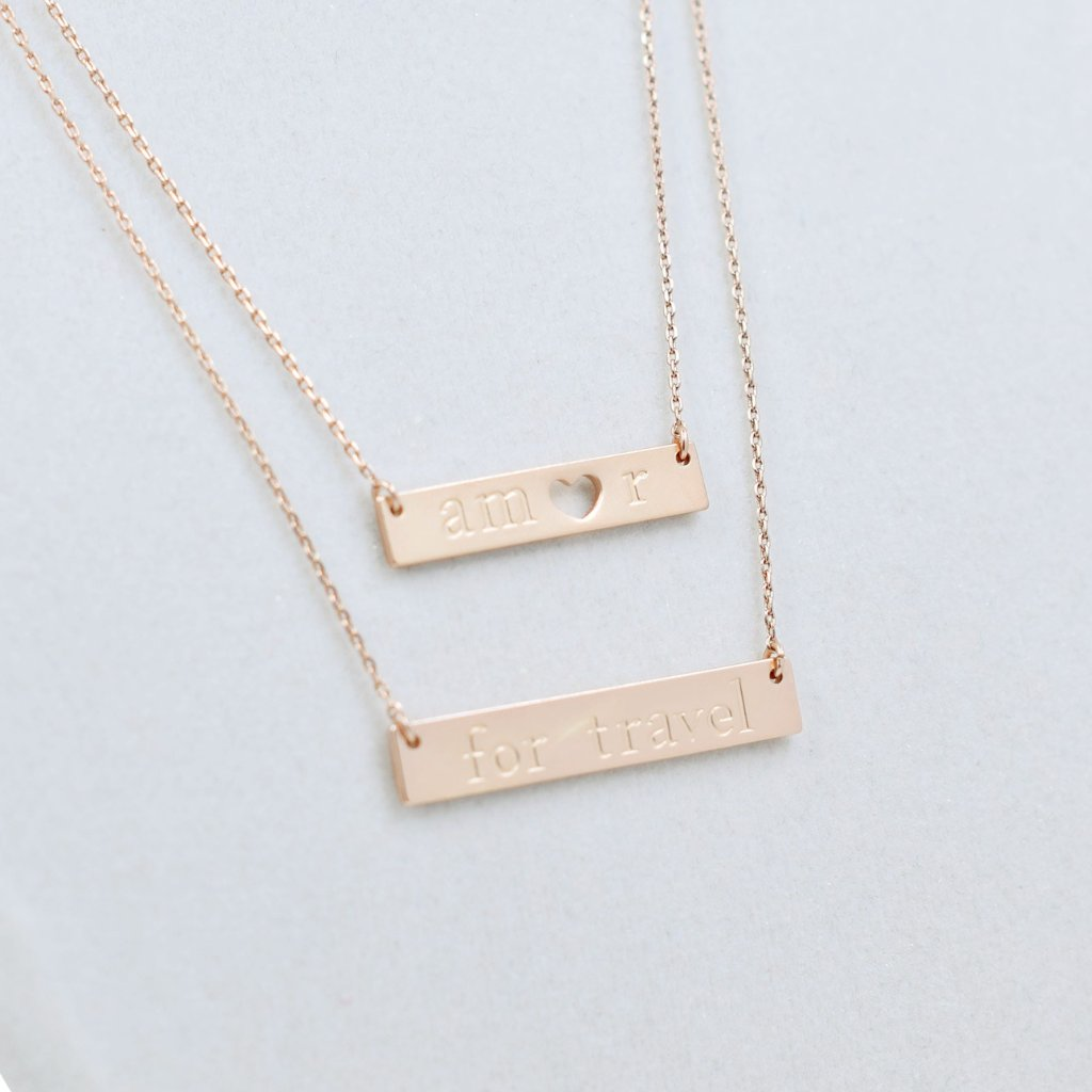 Amor for Travel Necklace - Rose Gold
