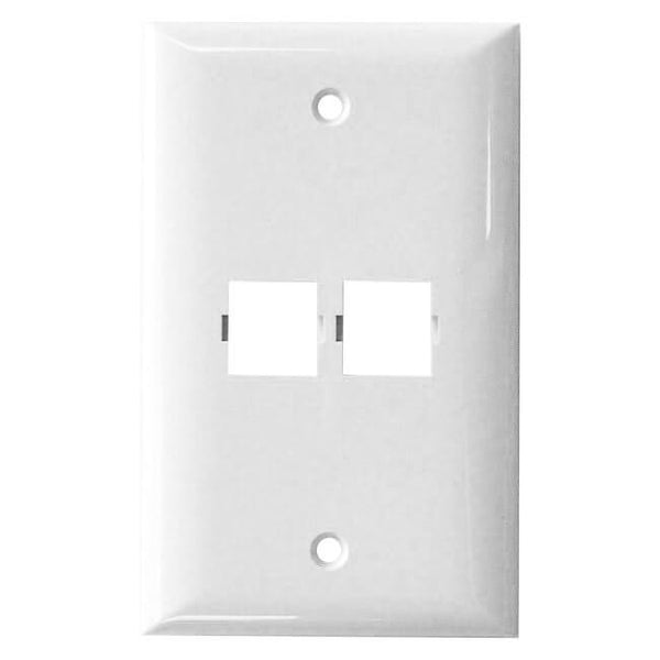 Shuttle SE-2-2502-85 2-port faceplate, single gang, smooth finish - White