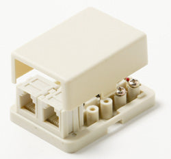 Steren 300-146IV Surface Mount Dual RJ11 Phone Jack - Ivory