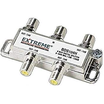 Extreme BDS104H 4 Way Universal Coaxial RG6 Splitter