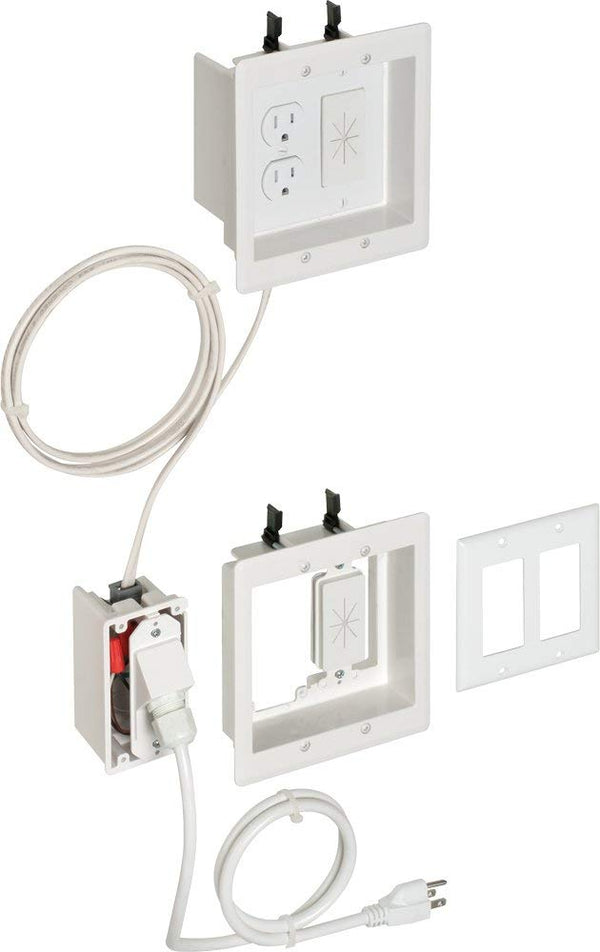 Arlington TVBRA2K in-Wall Wiring Kit, Pre-Wired TV Bridge, 2-Gang Boxes, White, 1-Pack
