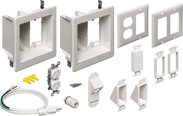 Arlington Flat Screen TV Recessed Kit with Outlet and Wall Plates, 2-Gang White