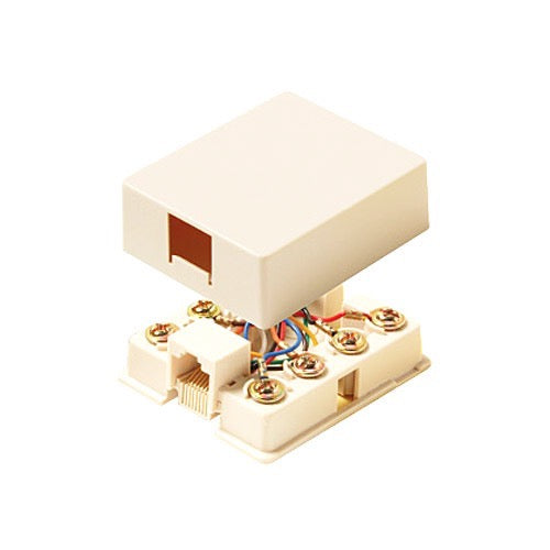 Steren 300-145IV Surface Mount RJ11 Phone Jack - Ivory