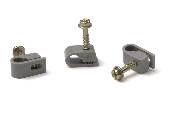 Grip Clip Cable Mounting Clips for RG59 RG6 - Grey