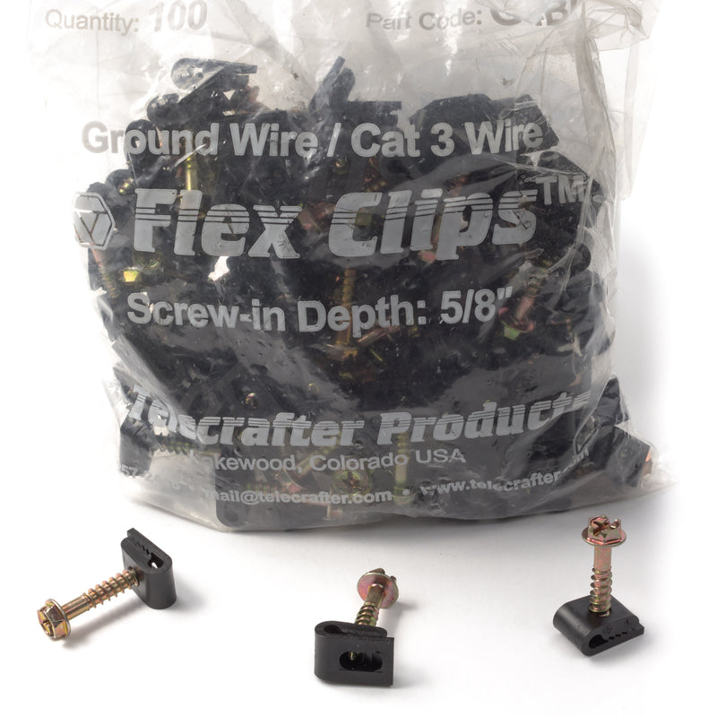Grip Clip Cable Mounting Clips for Cat3 Ground Wire Phone Cable - Black - 100 pack