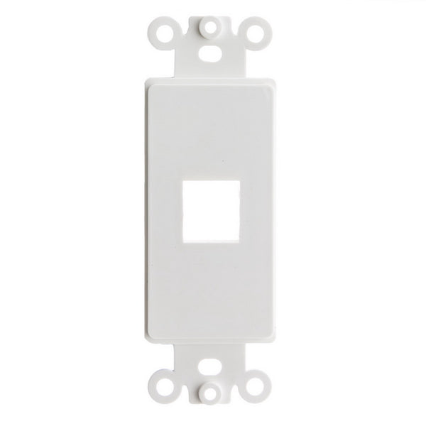 Vericom XFPTP-00497 Decora Wall Plate Insert 1 Keystone Jack, Single Gang - White