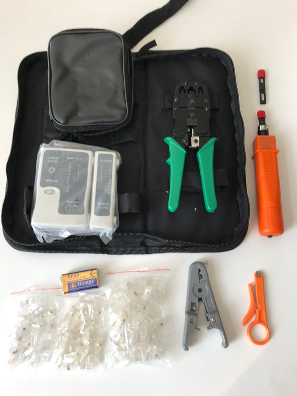 Networking Tool Kit with Cable Tester, Punchdown Tool, Cable Stripper Soft Case