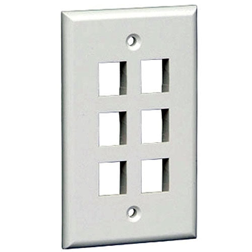 Vericom XFPOP-03421 Keystone Wall Plate Six Port - White