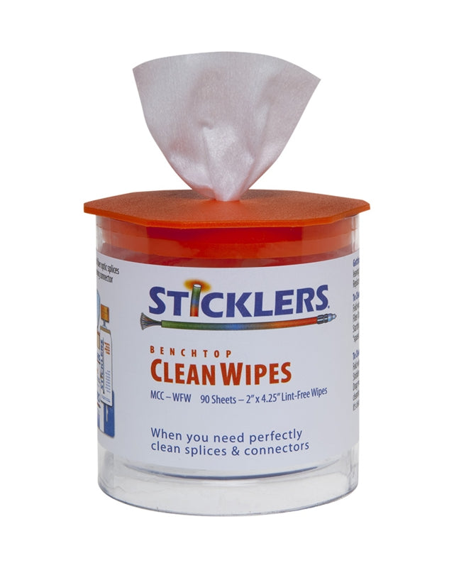 Sticklers Clean Wipes 90 Fiber Optic Wipes for the Benchtop