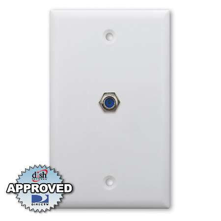 Holland 3Ghz Single F Coaxial Wall Plate - White