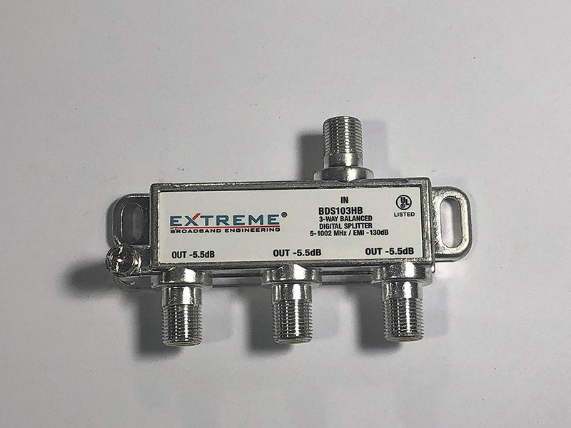 Extreme BDS103HB 3 Way Balanced Universal Coaxial RG6 Splitter