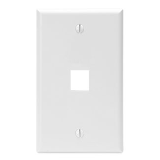 Leviton Single-Gang QuickPort Wallplate, 1-Port, White