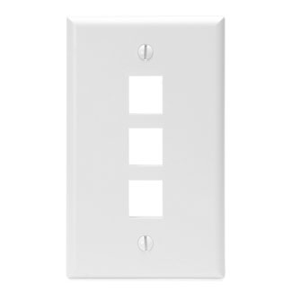 Leviton Single-Gang QuickPort Wallplate, 3-Port, White