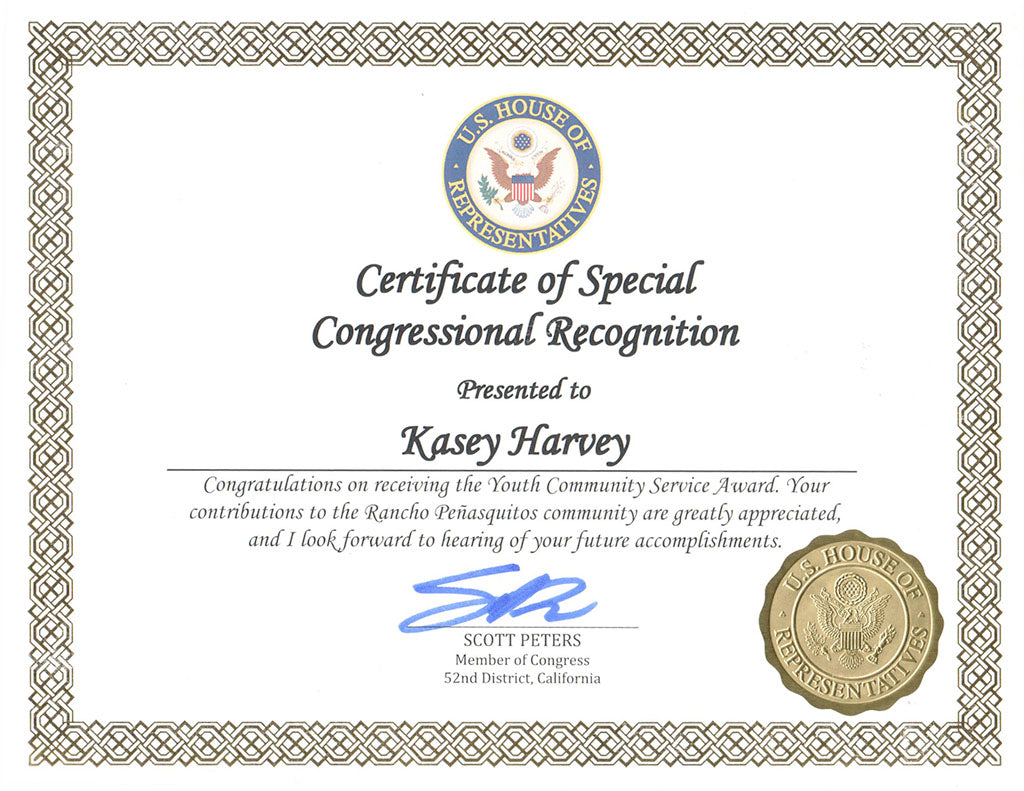 u s congress certificate of special congressional recognition