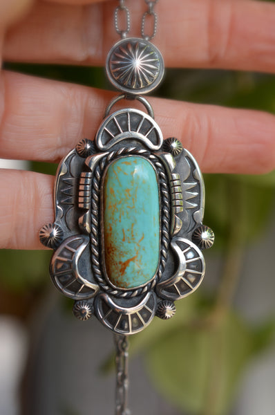 Necklace: Kingman Turquoise + Sterling