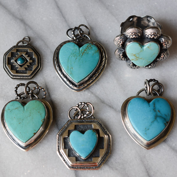 Turquoise Heart Ring: Kingman Turquoise + Sterling Silver