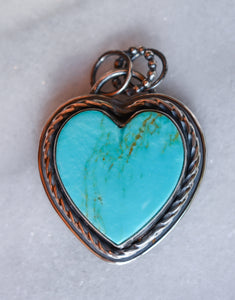 Turquoise Heart Pendant: Kingman Turquoise + Sterling Silver