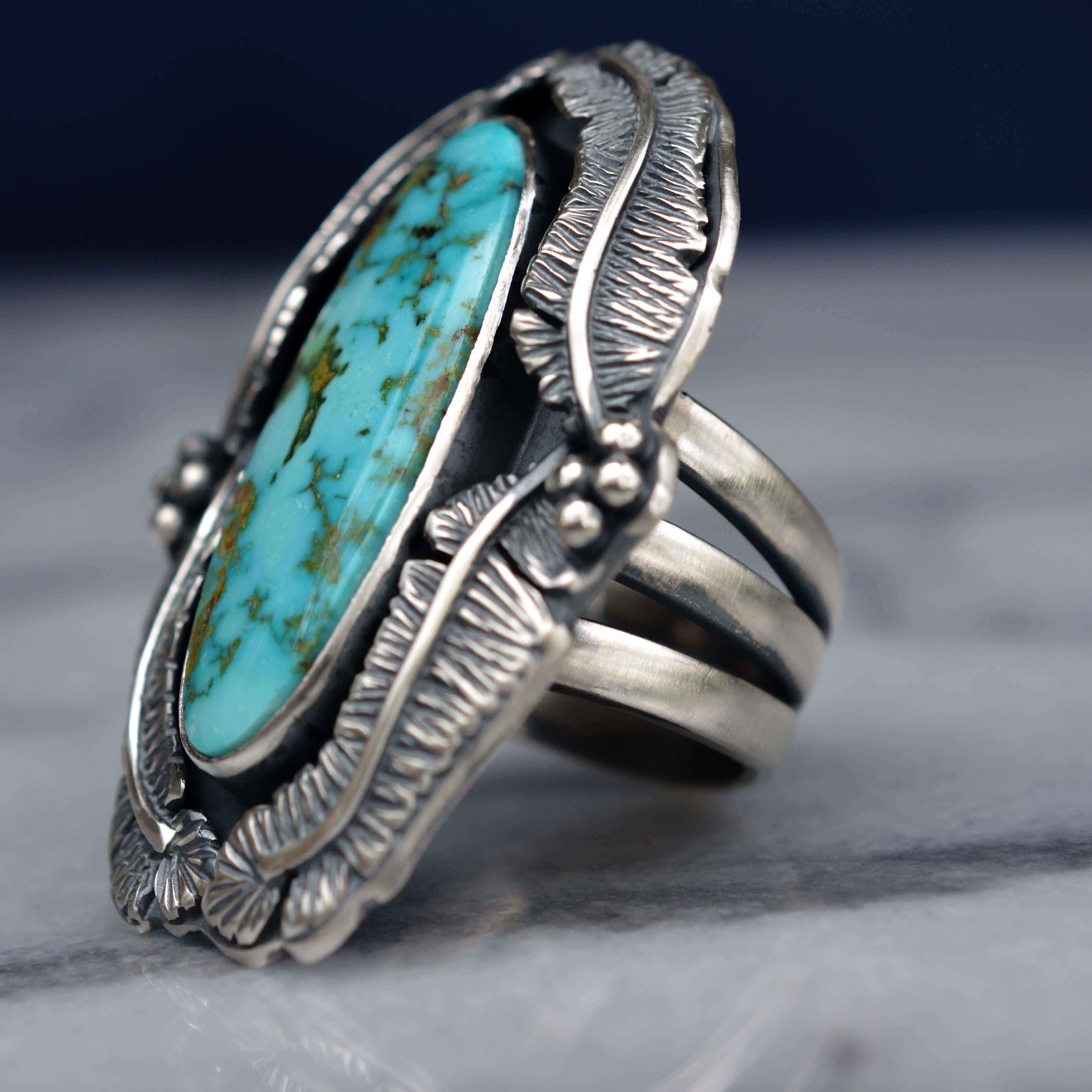 Feather Ring: Turquoise Mountain + Sterling Silver