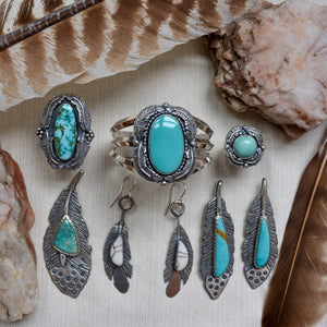Feather Necklace: Kingman Turquoise + Sterling Silver