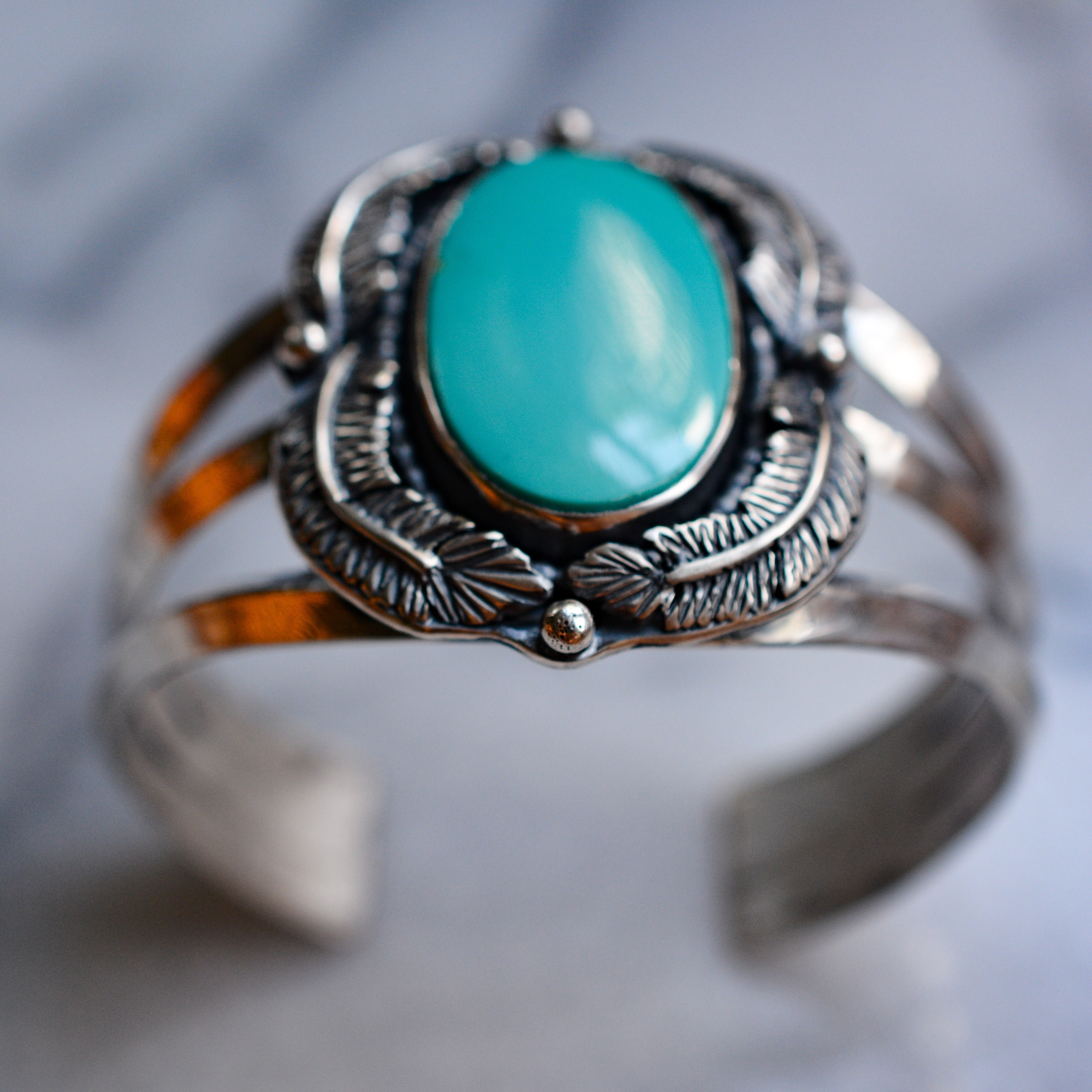 Feather Cuff: Royston Turquoise + Sterling Silver