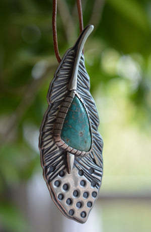 Feather Necklace: Carico Lake Turquoise + Sterling Silver