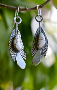 Feather Earrings: Wild Horse Magnesite + Sterling Silver