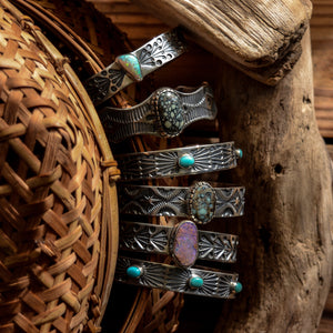 Cuff: New Lander Turquoise + Sterling Silver