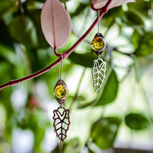 Leaf Earrings: Sterling Silver + Amber