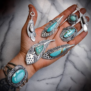 Feather Ring: Turquoise + Sterling Silver