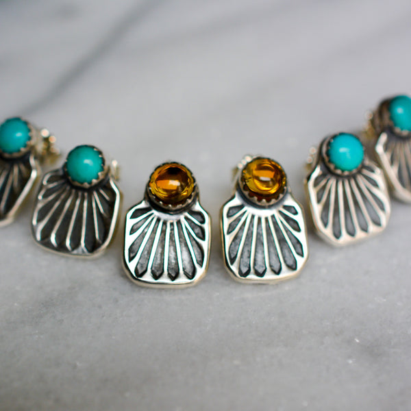 Stud Earrings: Sterling Silver + Kings Manassa Turquoise